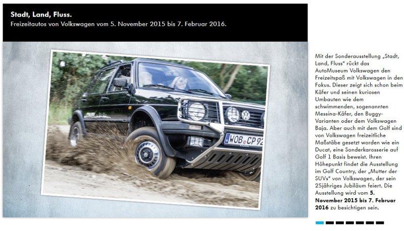 Events im AutoMuseum Volkswagen: Stadt, Land, Fluss. Freizeitautos von Volkswagen vom 5. November 2015 bis 7. Februar 2016